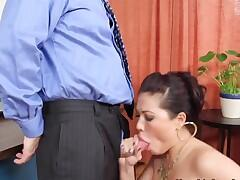 This is the hottest office lunch treat for the boss! The bastard adores fucking posh and sexy London Keyes in his office during lunch! John Strong gets fucking exhausted by this mature naughty Asian bitch!